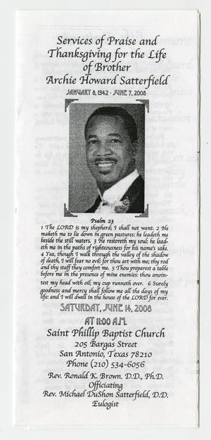 Primary view of object titled '[Funeral Program for Archie Howard Satterfield, June 14, 2008]'.