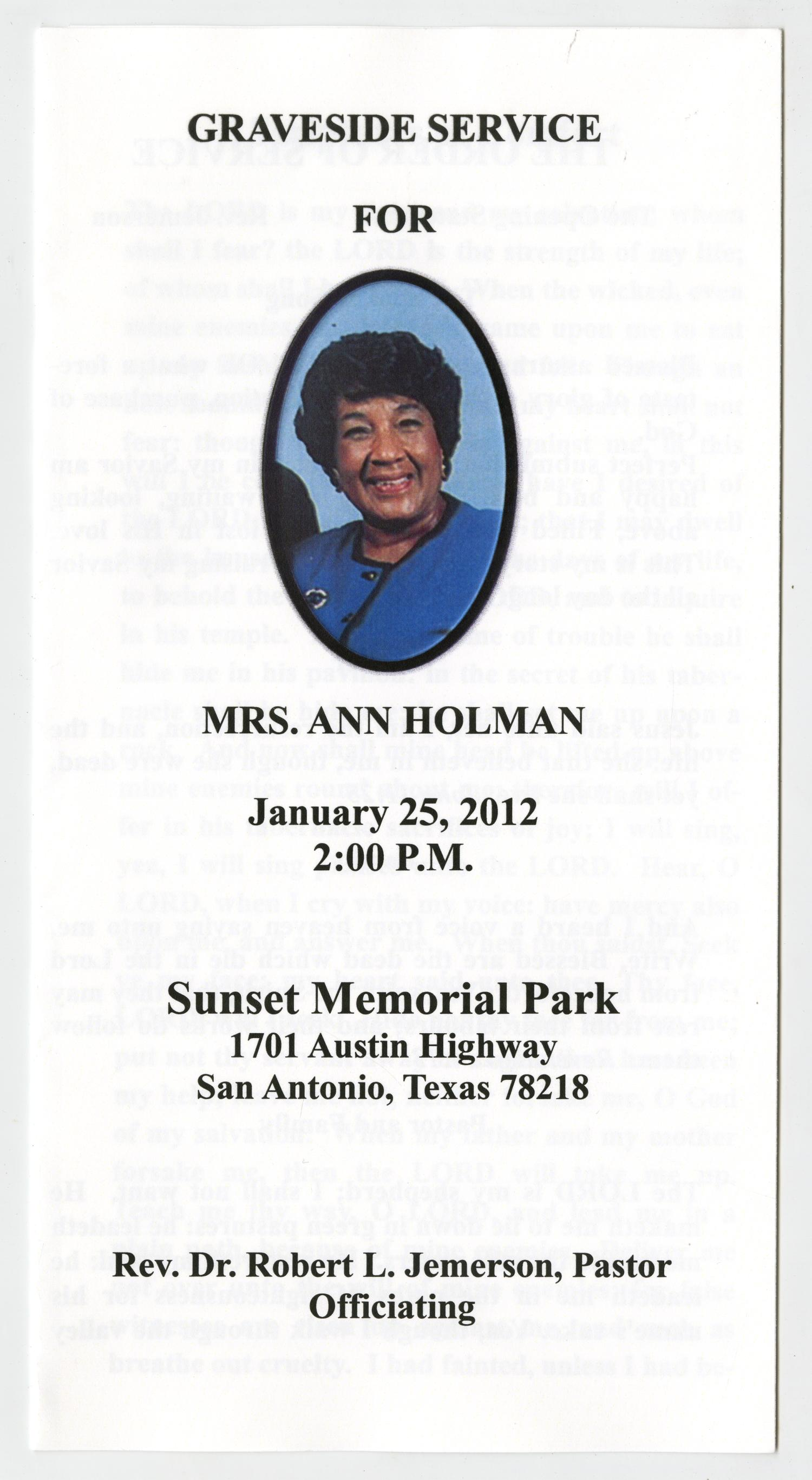 [Funeral Program for Ann Holman, January 25, 2012]                                                                                                      [Sequence #]: 1 of 3