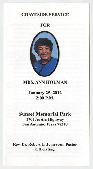 Primary view of object titled '[Funeral Program for Ann Holman, January 25, 2012]'.