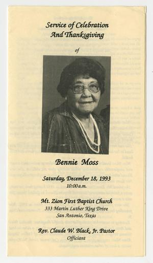 Primary view of object titled '[Funeral Program for Bennie Moss, December 18, 1993]'.