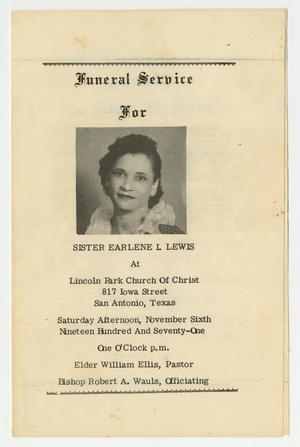 Primary view of object titled '[Funeral Program for Funeral Service for Earlene I. Lewis, November 6, 1971]'.