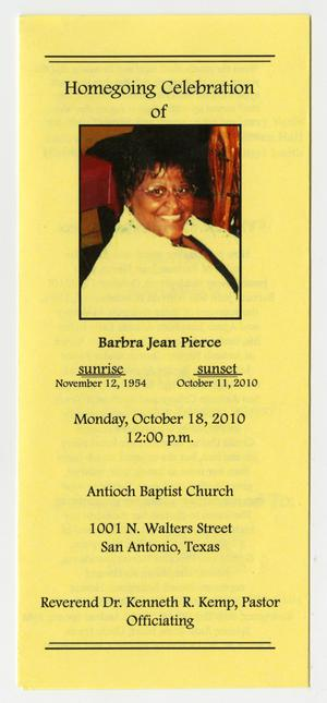 Primary view of object titled '[Funeral Program for Barbra Jean Pierce, October 18, 2010]'.