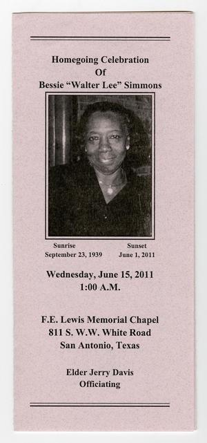 Primary view of object titled '[Funeral Program for Bessie Simmons, June 15, 2011]'.