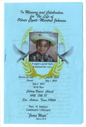 Primary view of object titled '[Funeral Program for Oliver Cynti-Martrel Johnson, July 6, 2013]'.