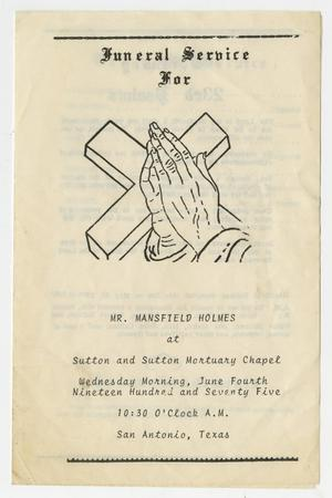 Primary view of object titled '[Funeral Program for Mansfield Holmes, June 4, 1975]'.