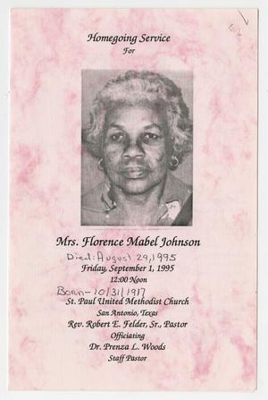 Primary view of object titled '[Funeral Program for Florence Mabel Johnson, September 1, 1995]'.