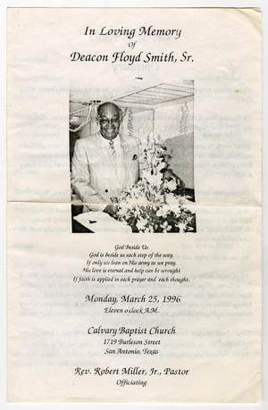Primary view of object titled '[Funeral Program for Deacon Floyd Smith, Sr., March 25, 1996]'.