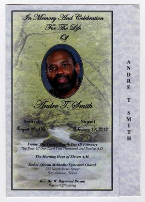 Primary view of object titled '[Funeral Program for Andre T. Smith, February 24, 2012]'.