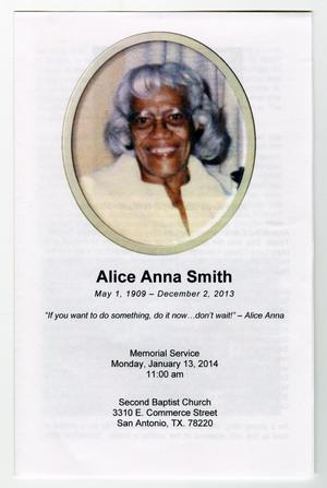 Primary view of object titled '[Funeral Program for Alice Anna Smith, January 13, 2014]'.