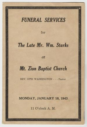 Primary view of object titled '[Funeral Program for Wm. Starks, January 18, 1943]'.