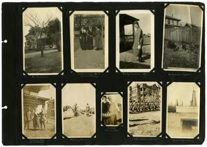 [Scrapbook Page: People, Homes, and Military Scenes]