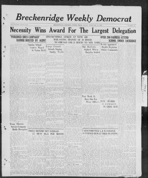 Primary view of object titled 'Breckenridge Weekly Democrat (Breckenridge, Tex), No. 27, Ed. 1, Friday, February 10, 1928'.