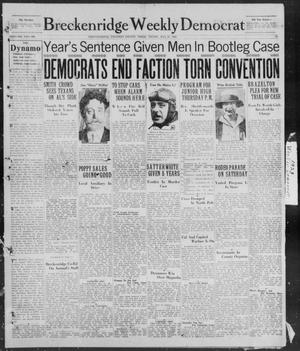 Primary view of object titled 'Breckenridge Weekly Democrat (Breckenridge, Tex), No. 38, Ed. 1, Friday, May 25, 1928'.