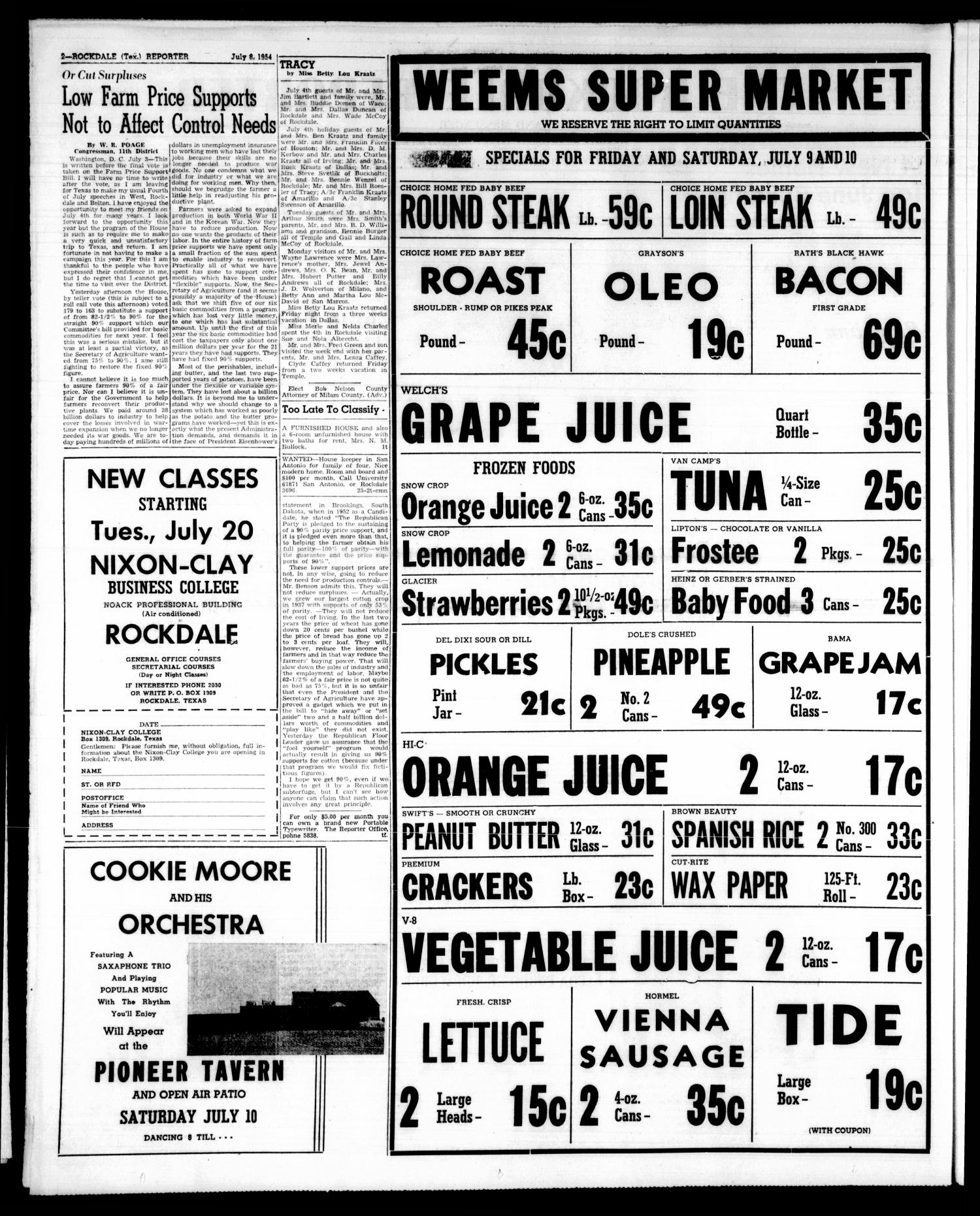 The Rockdale Reporter and Messenger (Rockdale, Tex.), Vol. 82, No. 25, Ed. 1 Thursday, July 8, 1954                                                                                                      [Sequence #]: 2 of 22