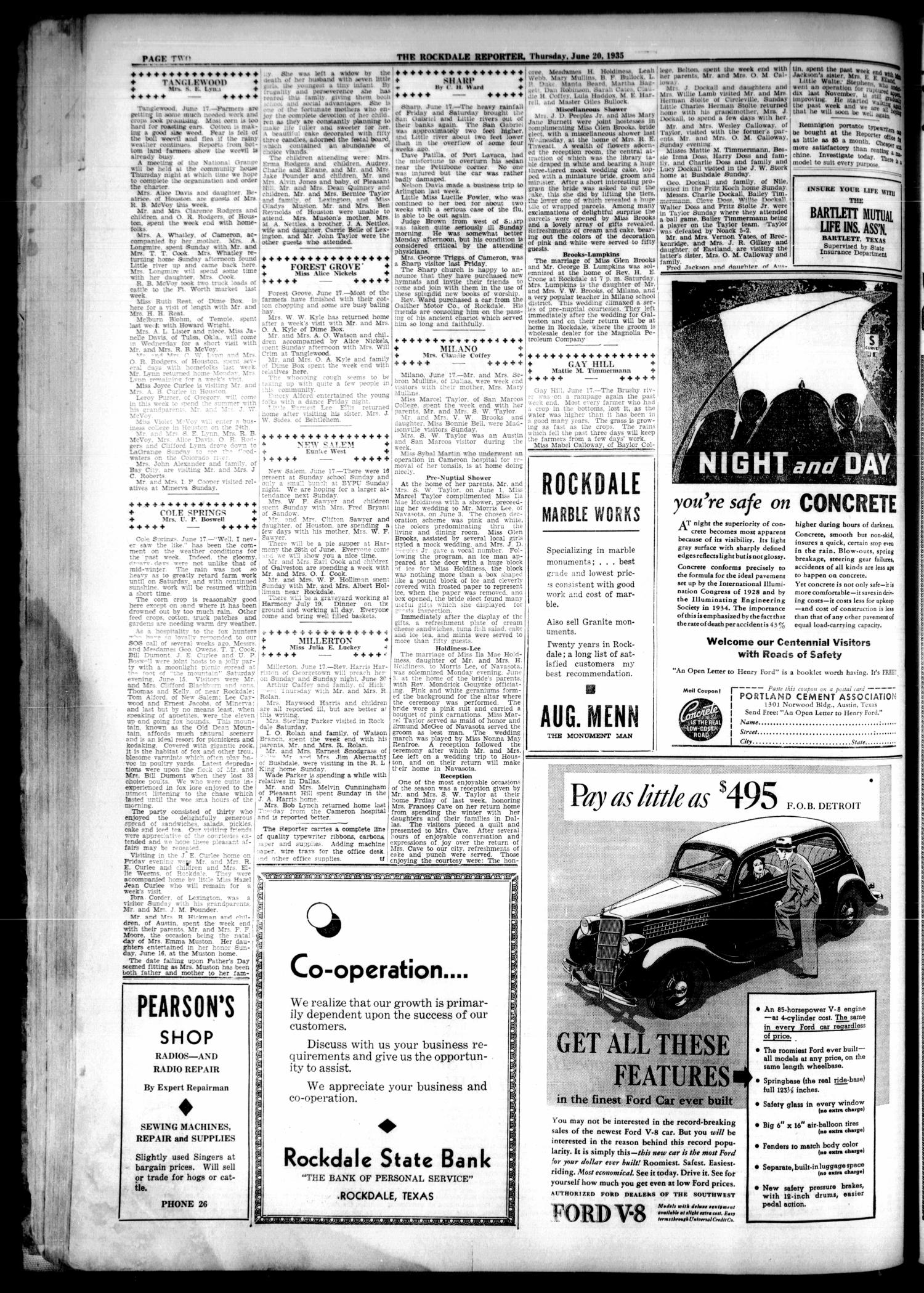 The Rockdale Reporter and Messenger (Rockdale, Tex.), Vol. 63, No. 19, Ed. 1 Thursday, June 20, 1935                                                                                                      [Sequence #]: 2 of 8