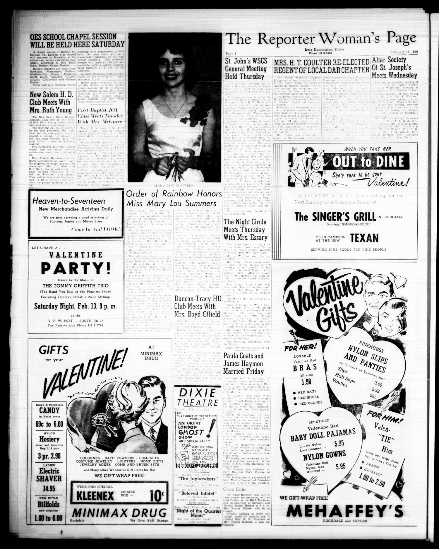 The Rockdale Reporter and Messenger (Rockdale, Tex.), Vol. 88, No. 05, Ed. 1 Thursday, February 11, 1960                                                                                                      [Sequence #]: 4 of 14