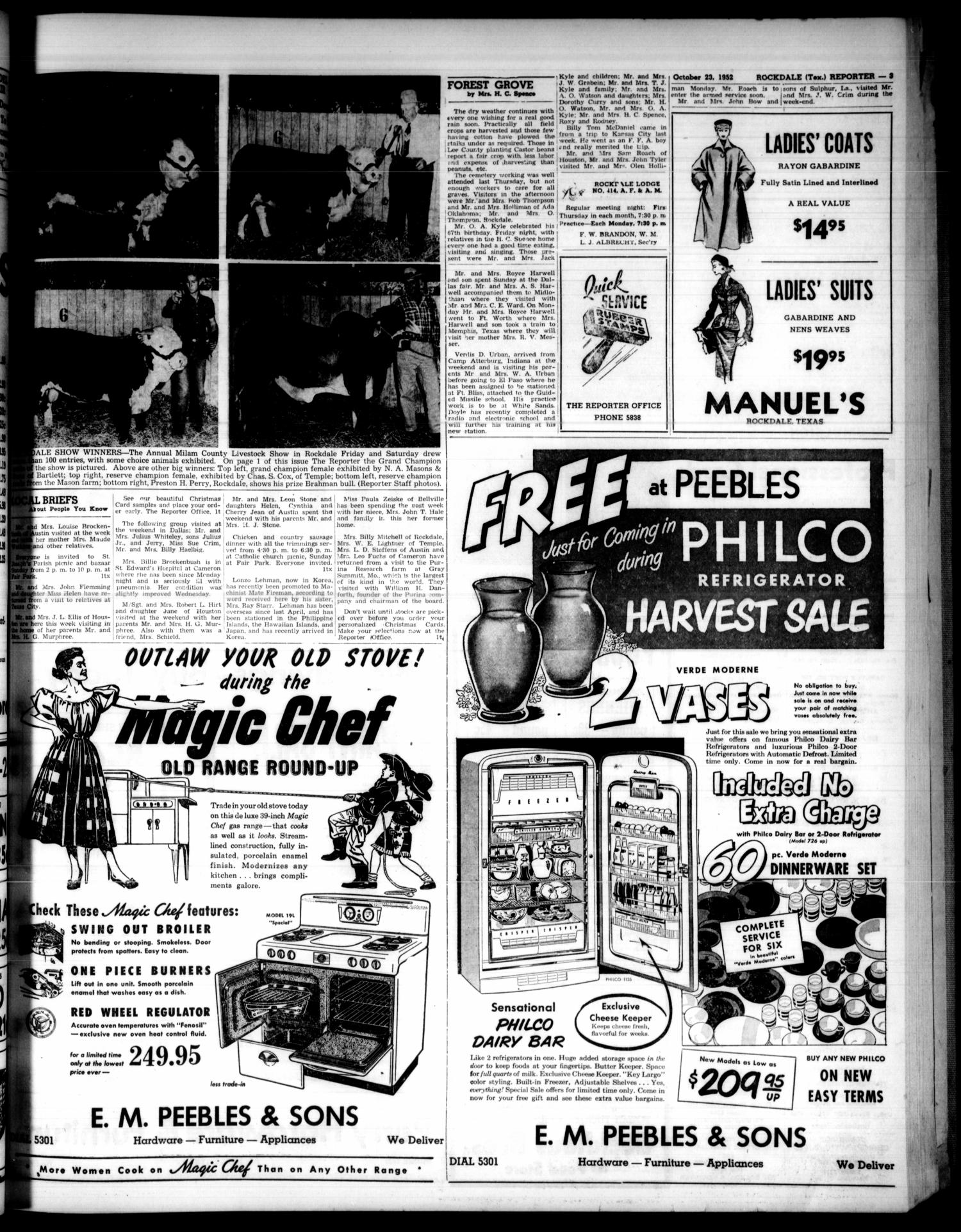 The Rockdale Reporter and Messenger (Rockdale, Tex.), Vol. 80, No. 40, Ed. 1 Thursday, October 23, 1952                                                                                                      [Sequence #]: 3 of 18