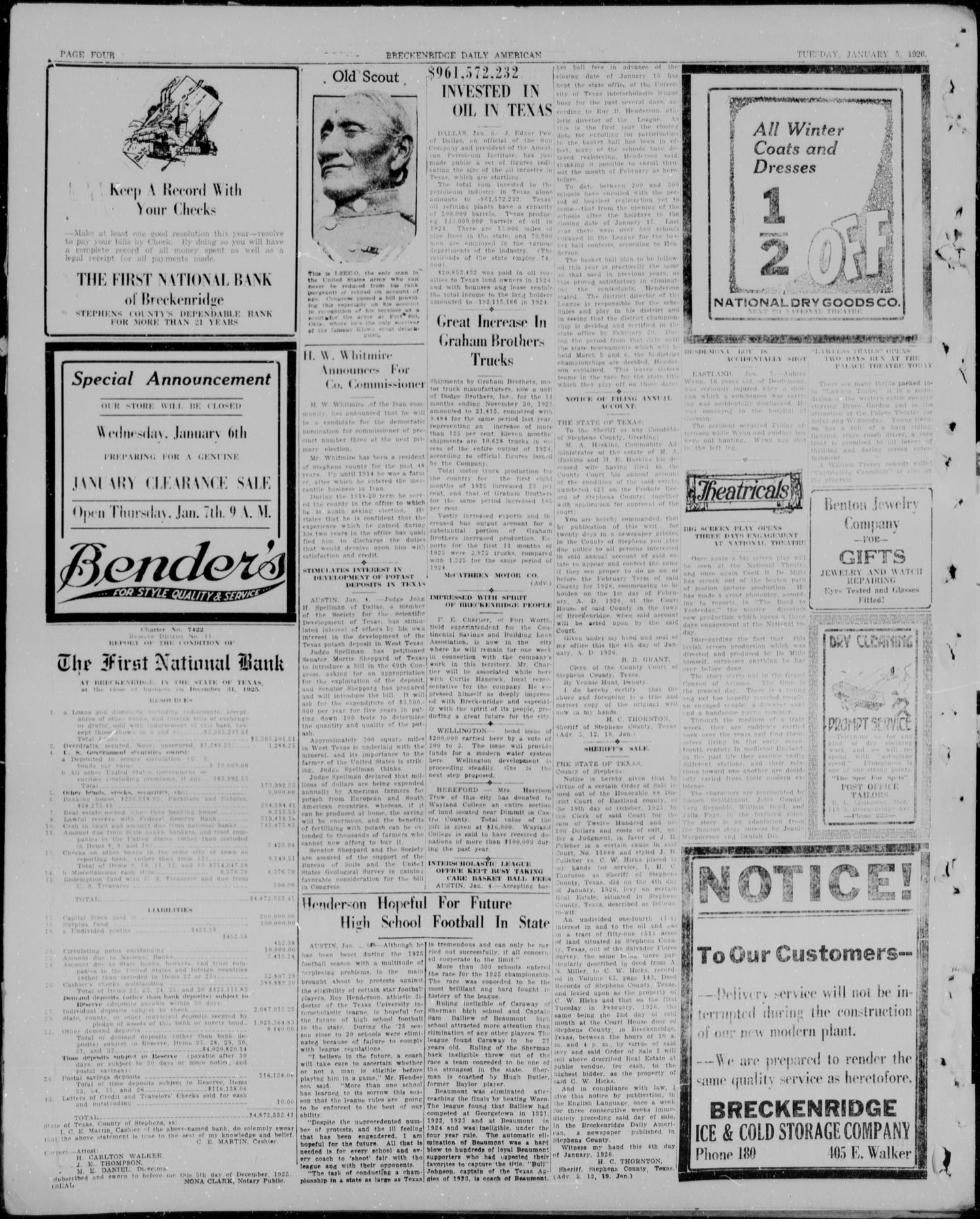 The Breckenridge Daily American (Breckenridge, Tex.), Vol. 6, No. 156, Ed. 1, Tuesday, January 5, 1926                                                                                                      [Sequence #]: 4 of 4