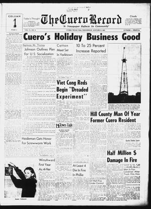 Primary view of object titled 'The Cuero Record (Cuero, Tex.), Vol. 71, No. 4, Ed. 1 Wednesday, January 6, 1965'.