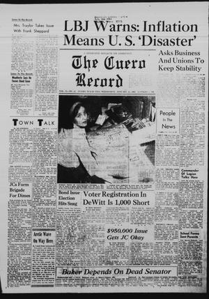 Primary view of object titled 'The Cuero Record (Cuero, Tex.), Vol. 73, No. 21, Ed. 1 Wednesday, January 25, 1967'.