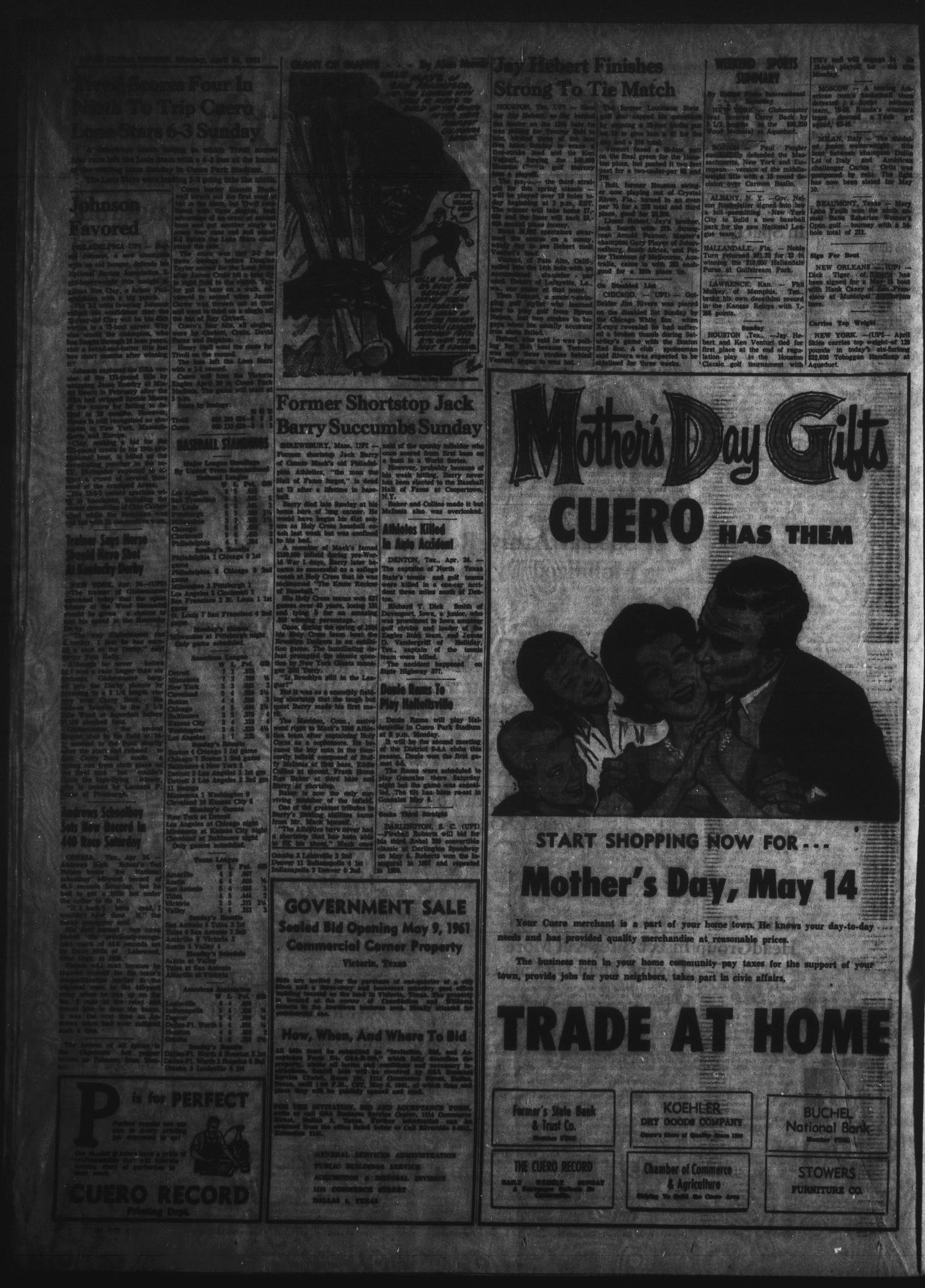 The Cuero Record (Cuero, Tex.), Vol. 67, No. 97, Ed. 1 Monday, April 24, 1961                                                                                                      [Sequence #]: 2 of 6