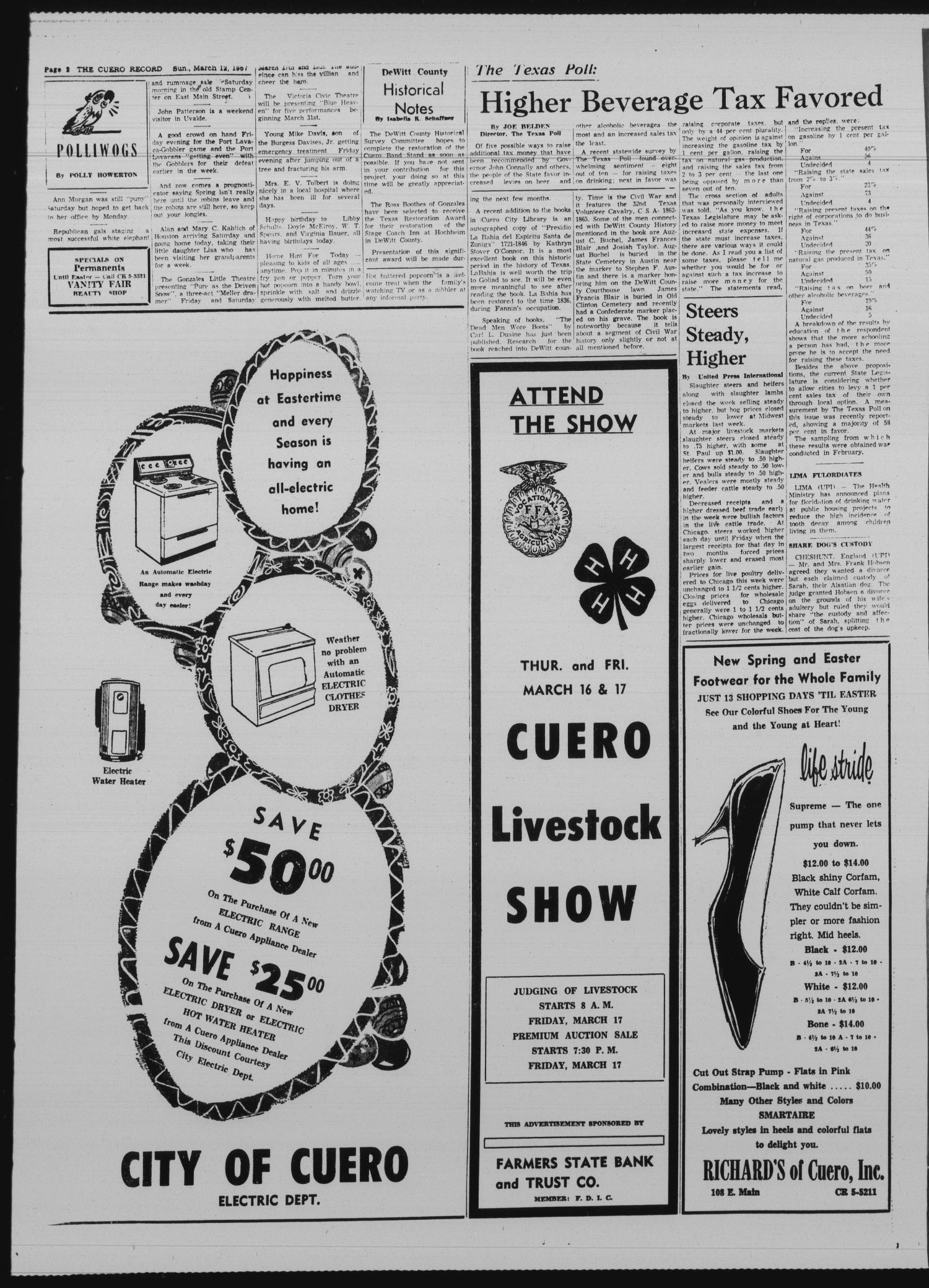 The Cuero Record (Cuero, Tex.), Vol. 73, No. 58, Ed. 1 Sunday, March 12, 1967                                                                                                      [Sequence #]: 2 of 12