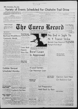 Primary view of object titled 'The Cuero Record (Cuero, Tex.), Vol. 72, No. 3, Ed. 1 Wednesday, January 5, 1966'.