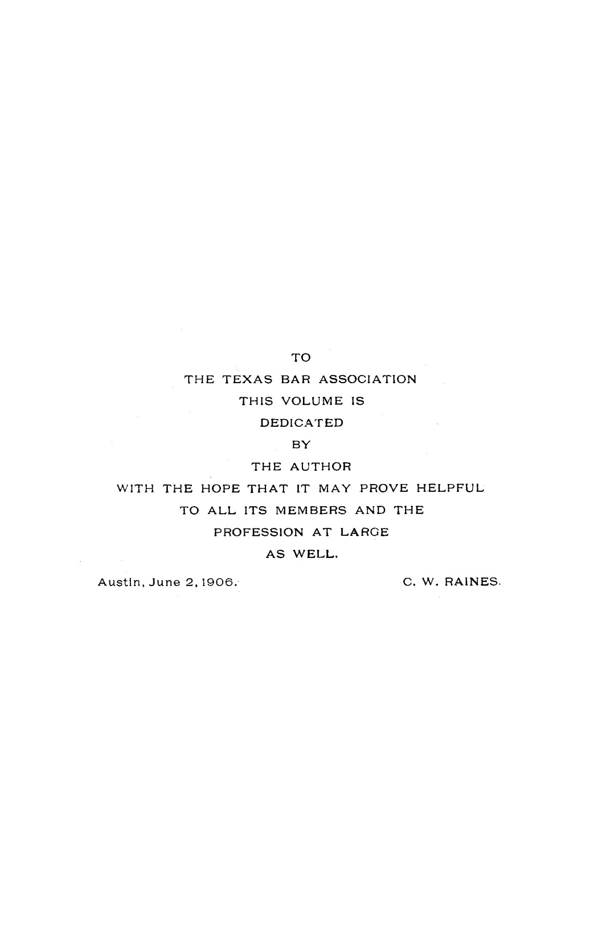 Analytical index to the laws of Texas, 1823-1905 (both dates inclusive).                                                                                                      E