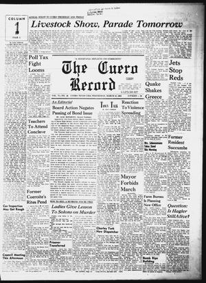 Primary view of object titled 'The Cuero Record (Cuero, Tex.), Vol. 71, No. 58, Ed. 1 Wednesday, March 10, 1965'.