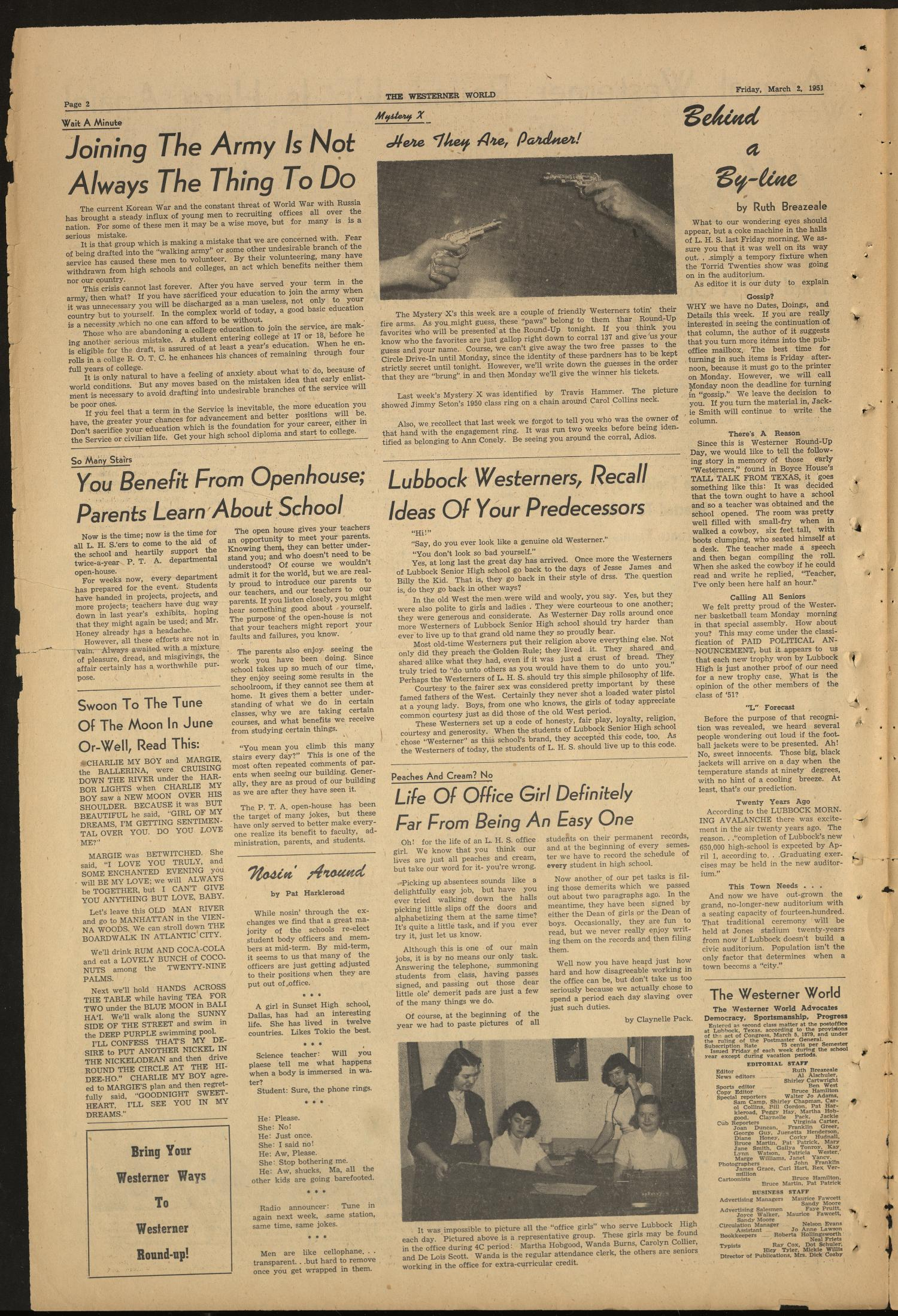 The Westerner World (Lubbock, Tex.), Vol. 17, No. 22, Ed. 1 Friday, March 2, 1951                                                                                                      [Sequence #]: 2 of 4