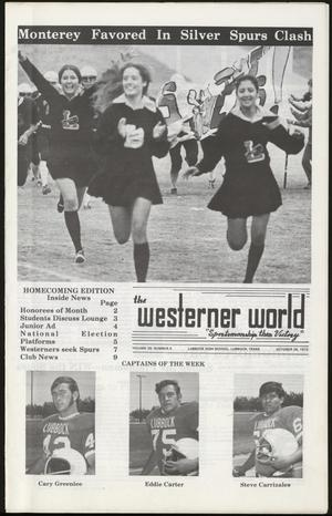 Primary view of object titled 'The Westerner World (Lubbock, Tex.), Vol. 39, No. 5, Ed. 1 Thursday, October 26, 1972'.