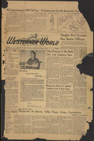 Primary view of object titled 'The Westerner World (Lubbock, Tex.), Vol. 17, No. 1, Ed. 1 Friday, September 15, 1950'.
