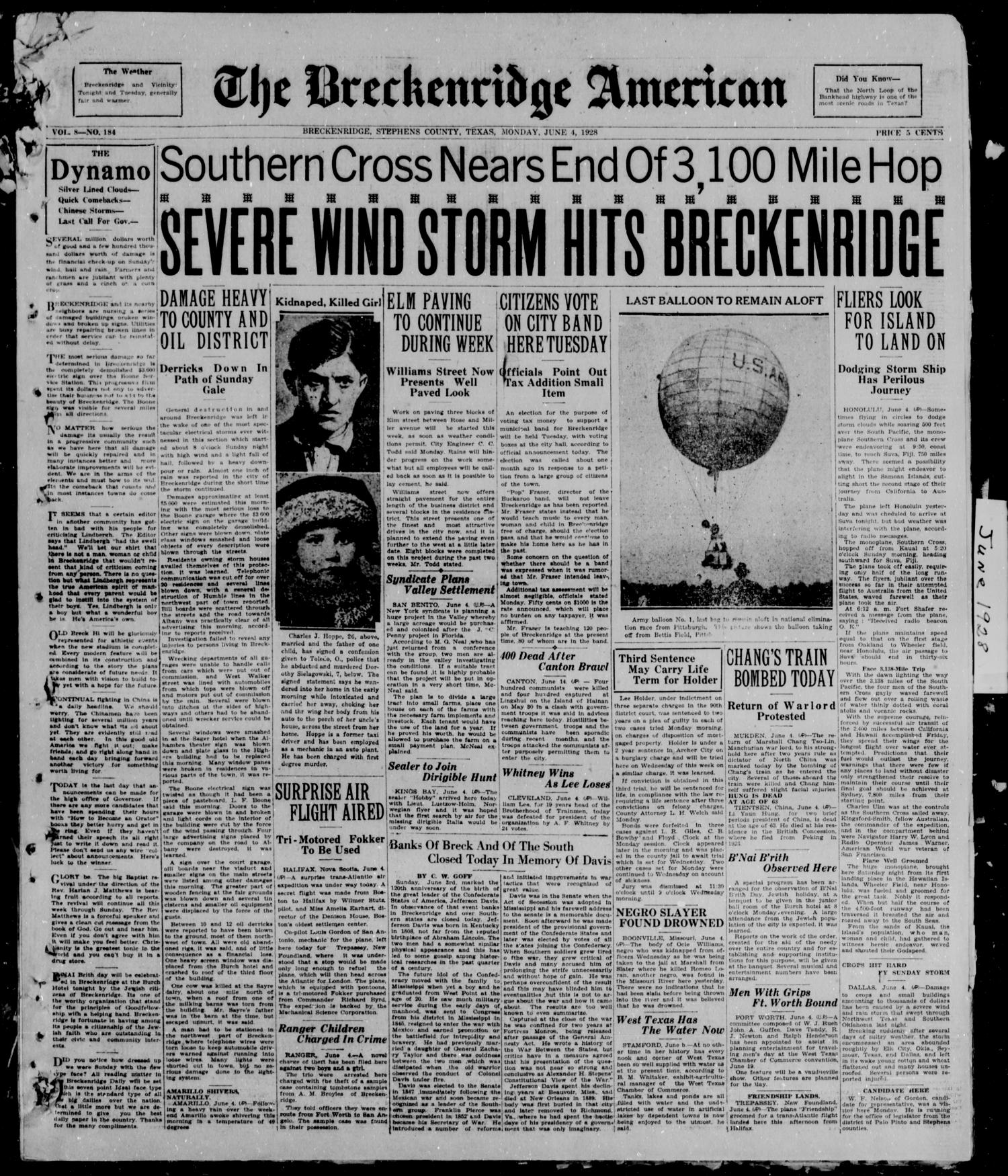 The Breckenridge American (Breckenridge, Tex.), Vol. 8, No. 184, Ed. 1, Monday, June 4, 1928                                                                                                      [Sequence #]: 1 of 6