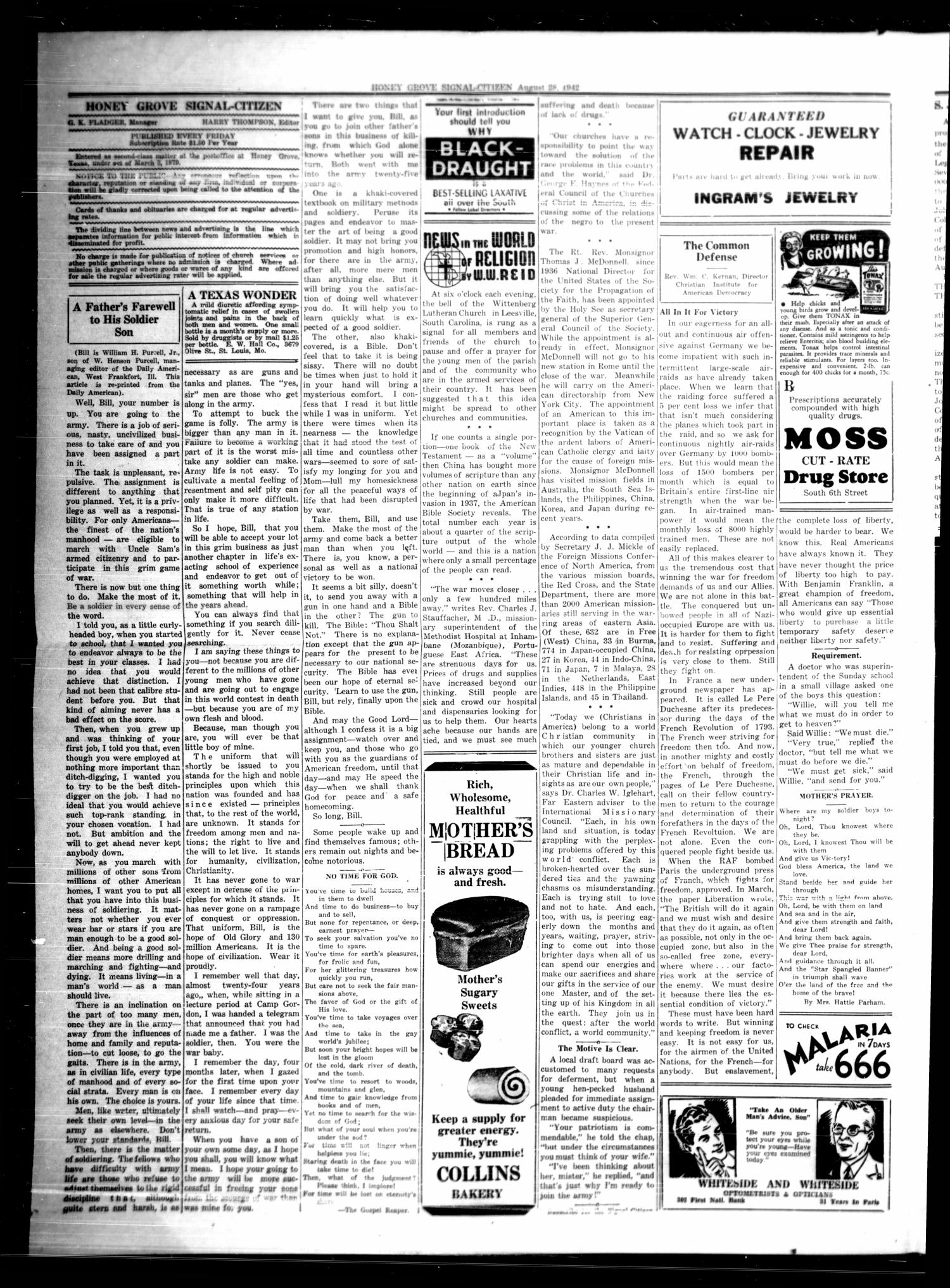 Honey Grove Signal-Citizen (Honey Grove, Tex.), Vol. 52, No. 31, Ed. 1 Friday, August 28, 1942                                                                                                      [Sequence #]: 2 of 8