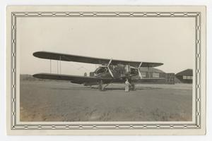 Primary view of object titled '[Photograph of a Keystone Bomber at Kelly Field]'.