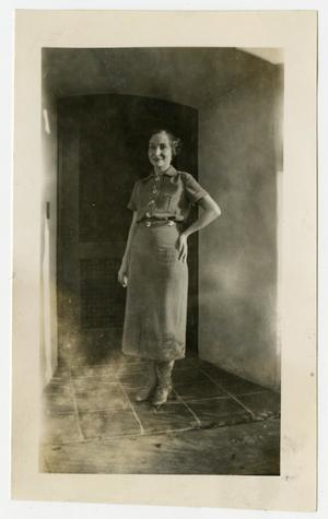 Primary view of object titled '[Photograph of Mary Dorothy Pierce for Christmas, 1935]'.