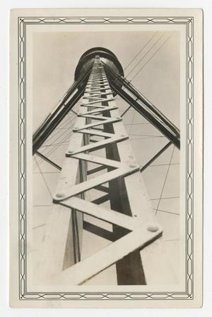 Primary view of object titled '[Looking up the Kelly Field Water Tower]'.