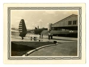Primary view of object titled '[Photograph of a Boeing Bomber at Randolph Field]'.