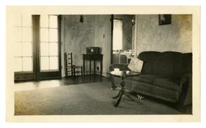 Primary view of object titled '[Photograph of George and Mary Pierce's Living/Dining Room]'.