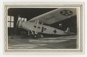 Primary view of object titled '[Photograph of an Army Hospital Plane at Kelly Field]'.