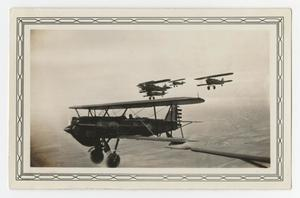 Primary view of object titled '[Photograph A-3 Airplanes Flying in Formation]'.