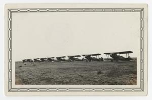 Primary view of object titled '[Photograph of a Line of Planes at Waco, Texas]'.