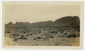 Primary view of object titled '[Photograph of Various Mountains Near Johnson's Ranch, Texas]'.