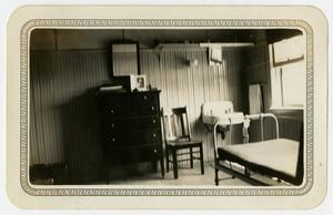 Primary view of object titled '[Photograph of the Inside of a Barrack at Brooks Field, Texas]'.