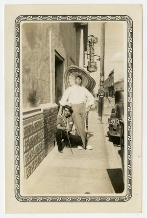 Primary view of object titled '[Photograph of Al Palmer and Travel Guide in Monterrey, Mexico]'.
