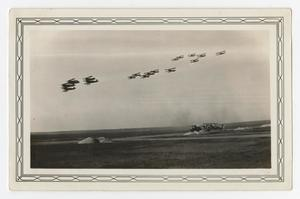 Primary view of object titled '[Photograph of Planes Flying in Review]'.