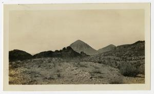 Primary view of object titled '[Photograph of Mountains Near Johnson's Ranch]'.