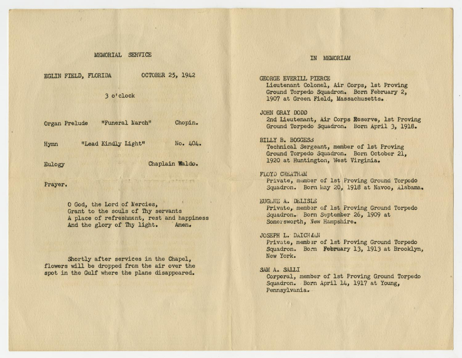[Memorial Program for Air Corps Aviators, October 25, 1942]                                                                                                      [Sequence #]: 2 of 3