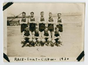 Primary view of object titled '[Photograph of the Crew of a Race Boat]'.