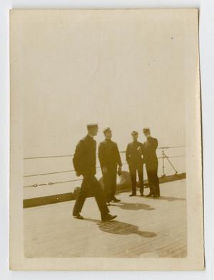 Primary view of object titled '[Photograph of Four Naval Officers on the U.S.S. Texas]'.